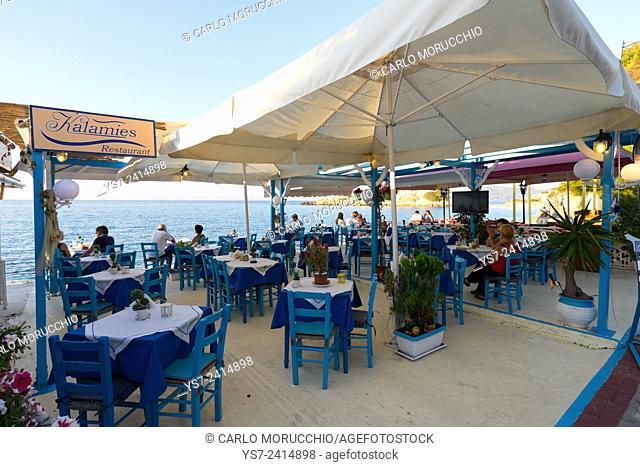 Tavernas in Kokkari, Samos island, North Aegean islands, Greece, Europe