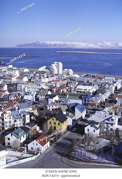 Reykjav+¡k seen from above, Mount Esja in the background
