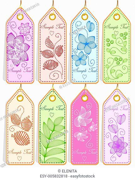 Set of cute tags