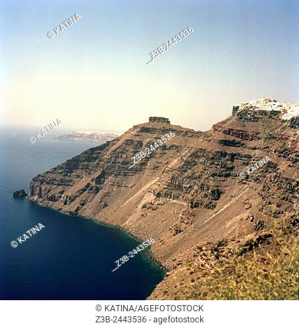 Looking north from southern Santorini, the town of Fira (on the right) and Oia (in the distance), Santorini Island, Cyclades Islands, Greece