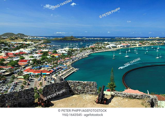 Marigot Bay In St Martin , from Fort St Louis, French Caribbean