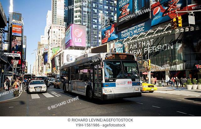 A NYC Transit bus on Broadway in Times Square in New York