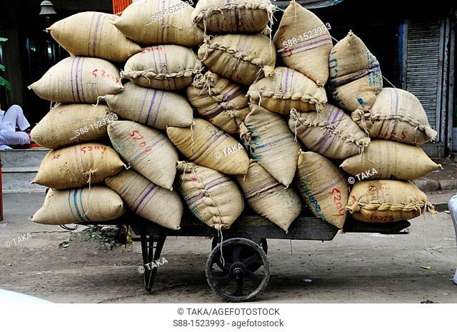 Sack of grain at Chandni Chowk, Old Delhi