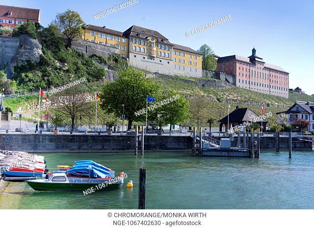 Landing stage and Staatsweingut, State Vineyards, Meersburg, Lake Constance, Baden-Wuerttemberg, Germany, Europe