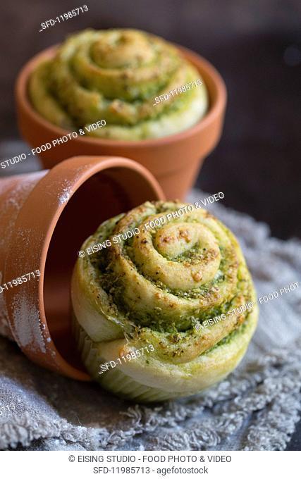 Wild garlic pastries in flowerpots