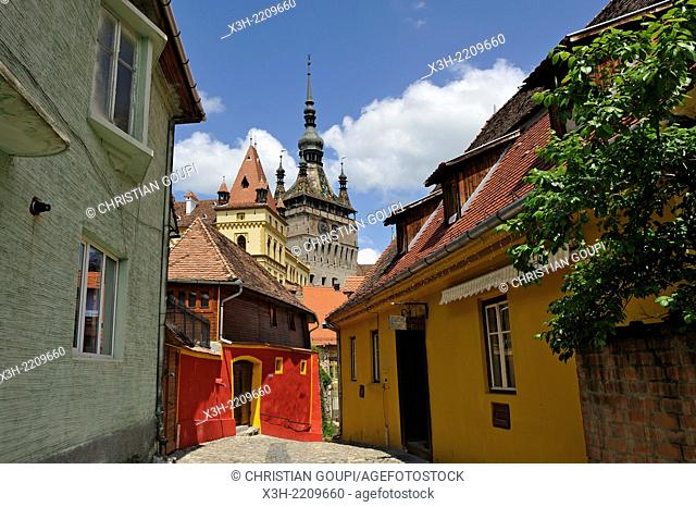Clock Tower seen from south path leading into Old Town, Sighisoara, Transylvania, Romania, Southeastern and Central Europe