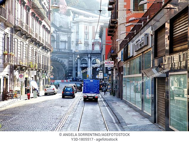 View of Naples Italy, urban street at morning