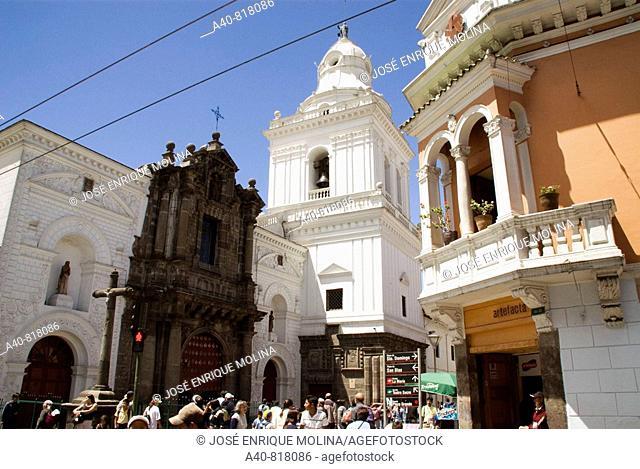 Ecuador.Quito.Historical center.Church of  San Agustin ( XVI century). Front and belfry