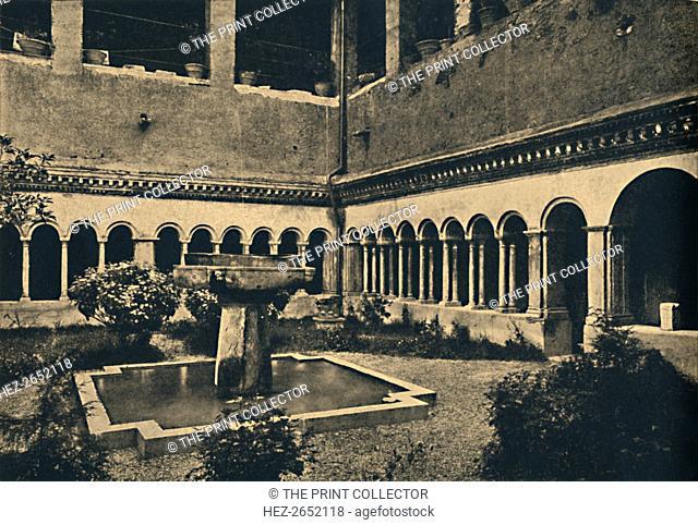 'Roma - Cloisters of SS. Quattro Coronati on the Caelian Hill. Built in 1113', 1910. Santi Quattro coronati, is an ancient basilica in Rome, Italy
