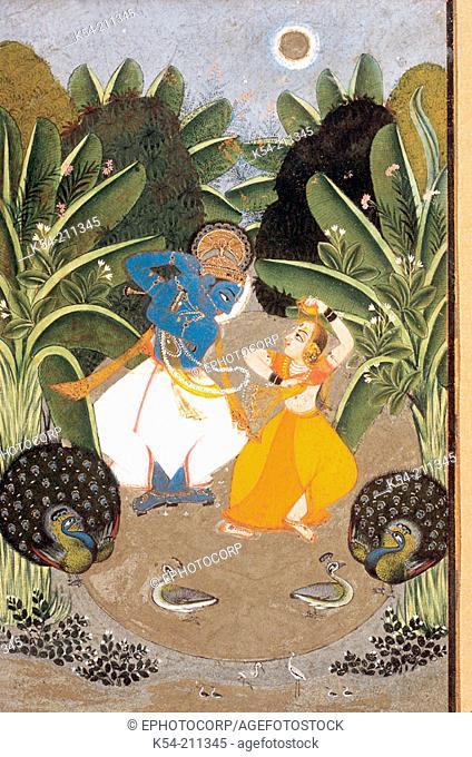Radha and Krishna dancing. Bundi, Rajasthan, India. Dated: 1750 A.D. Original size: 19 x 12cm