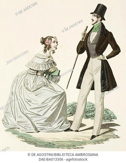 Female sketch in white dress and male sketch in morning suit, top hat and walking stick , plate 49 taken from Parisian Fashion