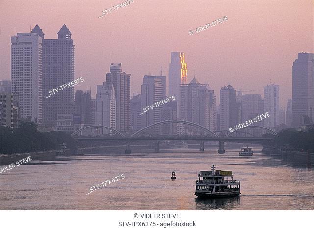 Asia, Boats, Bridge, Buildings, China, City, Guandong, Guangzhou, Holiday, Landmark, Modern, Pearl, Province, River, Skyline, To
