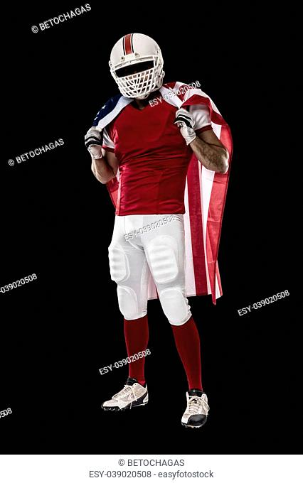 Football Player with a red uniform and a american flag, on a Black background