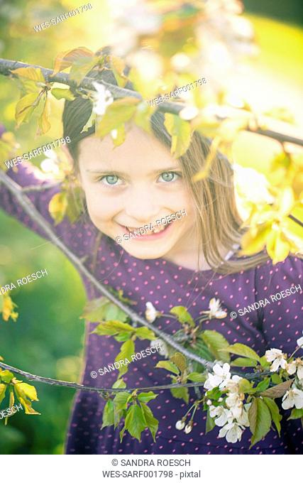 Portrait of smiling little girl looking through twigs of a blossoming tree