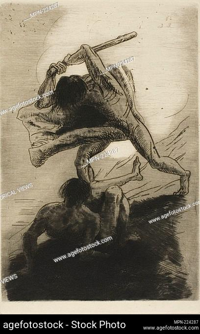 Cain and Abel - 1886 - Odilon Redon French, 1840-1916 - Artist: Odilon Redon, Origin: France, Date: 1886, Medium: Etching and drypoint on ivory laid paper