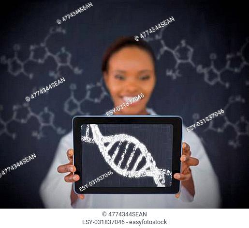 Smiling woman showing us DNA Helix on tablet screen