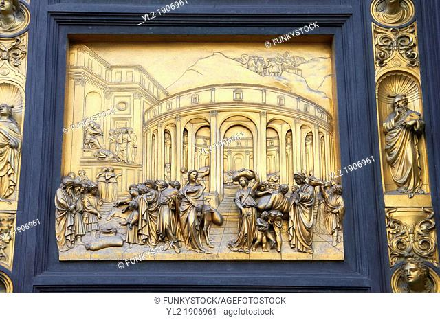 Scenes from the early Renaissance ' Gates of Paradise' door of the Baptistry of Florence  Battistero di San Giovanni  made by Ghiberti in 1425