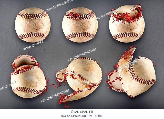 Stages of a baseball getting worn