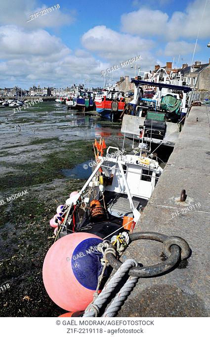 Barfleur fishing harbour's boats in Normandy, France