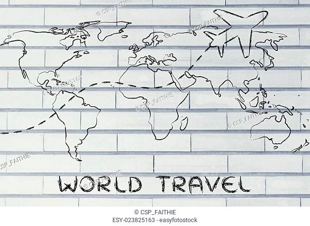 travel industry: world map with airplane routes
