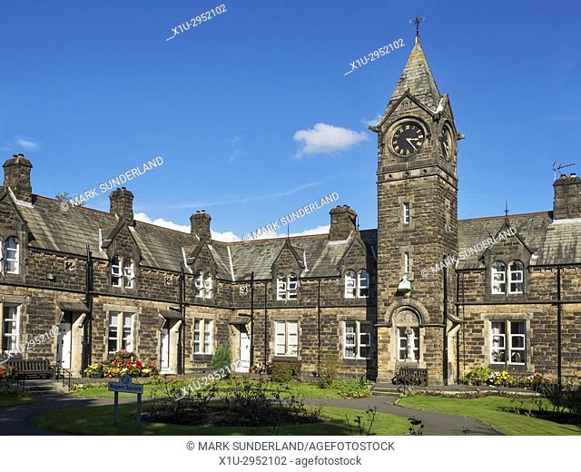 Old Almshouses in Rogers Square built 1868 by Textile Manufacturer George Rogers Harrogate North Yorkshire England