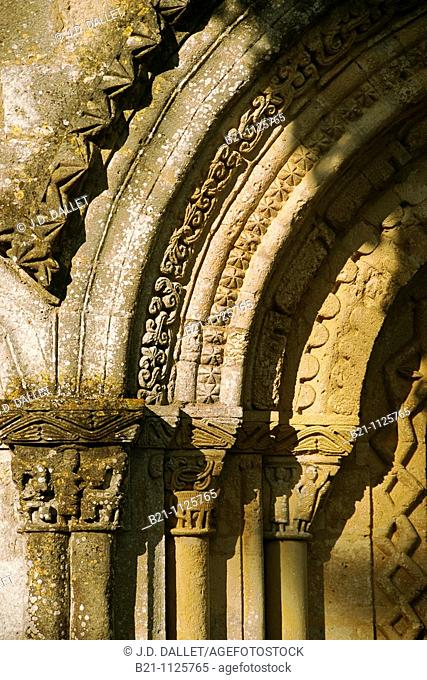 Detail of 12th century Romanesque church, Cerons, Gironde, Aquitaine, France
