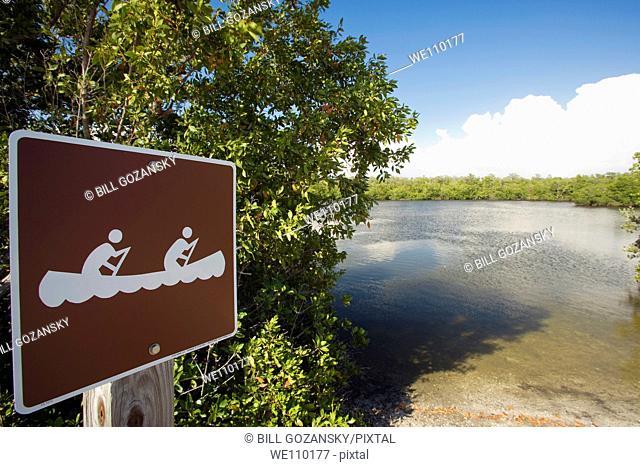 Canoeing Sign - J N  Ding Darling National Wildlife Refuge - Sanibel Island, Florida USA
