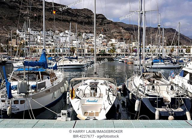 Sailing yachts in the marina, Puerto de Mogan, Gran Canaria, Canary Islands, Spain