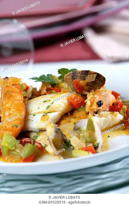Baked cod with clams and shrimps