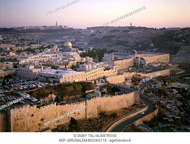 Aerial photograph of the old city of Jerusalem at sunset