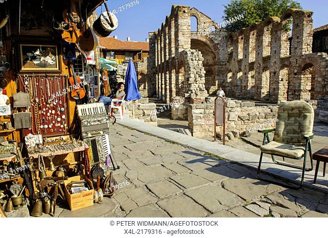 Nessebar, ruin of old Metropolitan church, Stara Mitropolia, Bulgaria, Black Sea