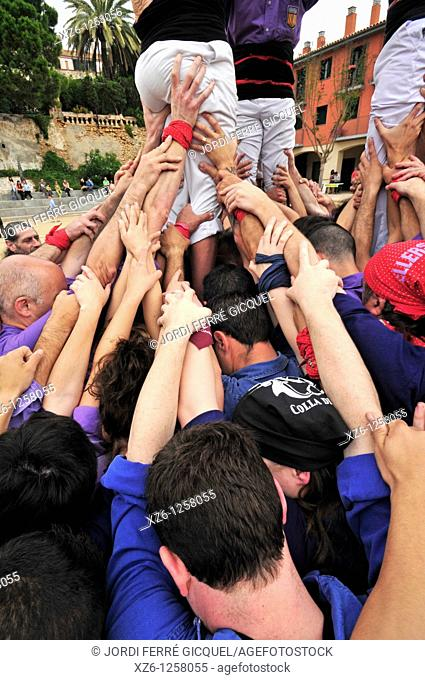 Detail of Castellers, Catalan human castles declared UNESCO element of Intangible Cultural Heritage of Humanity