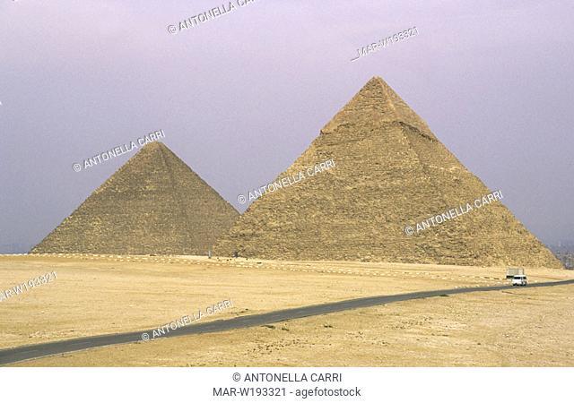 africa, egypt, cairo, pyramid of khufu end of khafre
