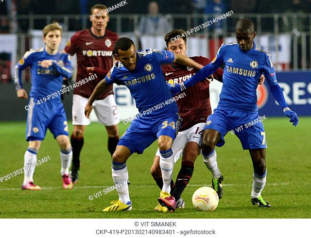 Europa League, 2nd round, Sparta Praha vs Chelsea FC in Prague, Czech Republic, February 14, 2013 Ryan Bertrand left of Chelsea