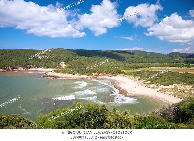 Algaiarens beach at Menorca island in Spain