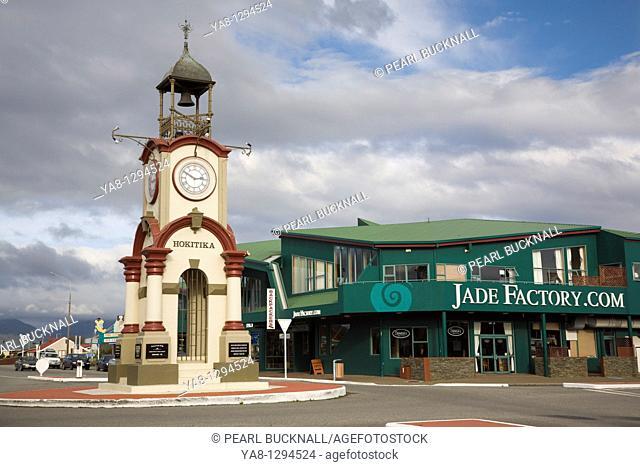 Hokitika Central South Island New Zealand  Commemorative town clock and Jade factory shop