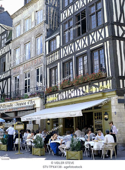 Building, Facade, France, Europe, Holiday, Landmark, Marche, Normandy, Outdoor cafes, Place, Rouen, Tourism, Travel, Vacation, V