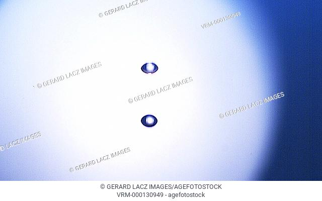 Drop of Water falling into Water against Blue background, Slow motion