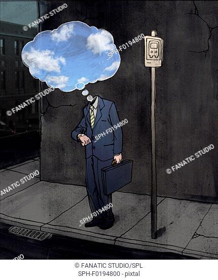 Depressed businessman standing at bus stand, illustration