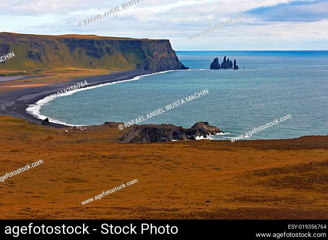 Black sand at Reynisfjara Beach on the South Coast of Iceland