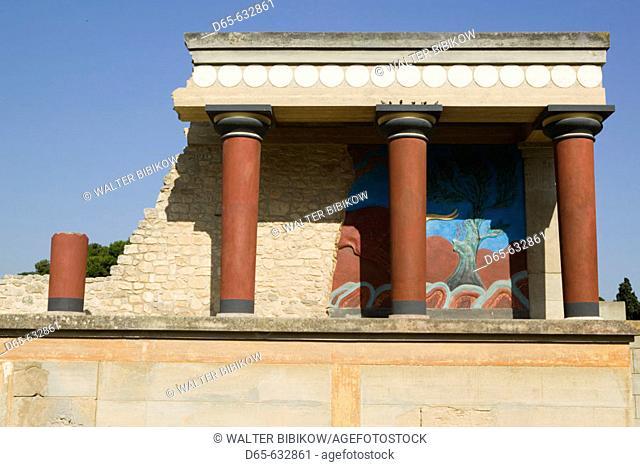 Ruins of the Capitol of Minoan Crete (c.1700BC). The Minoan Bull Fresco Building. Knossos. Crete, Greece