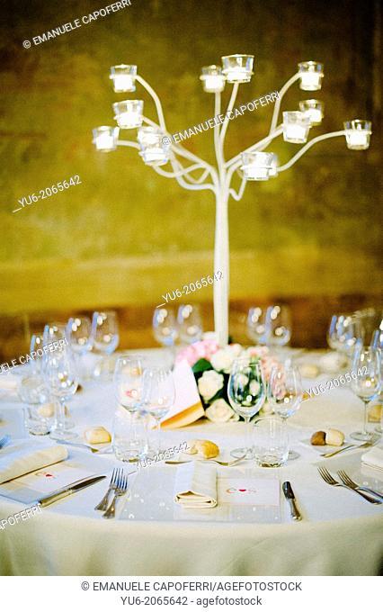 Table set for wedding dinner