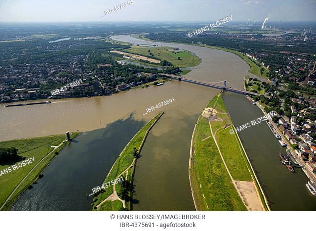 Aerial view, brown flood of the Rhine mixes with the clean water of the Ruhr, Ruhr estuary at the port of Duisburg, Duisburg, Ruhr district