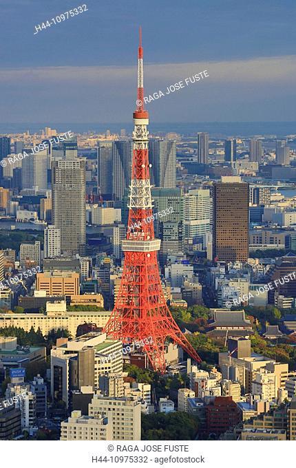 City, Japan, Asia, Landscape, Roppongi Hills, Tokyo, Tokyo Tower, architecture, colourful, minato-ku, no people, panorama, skyline, skyscrapers, touristic