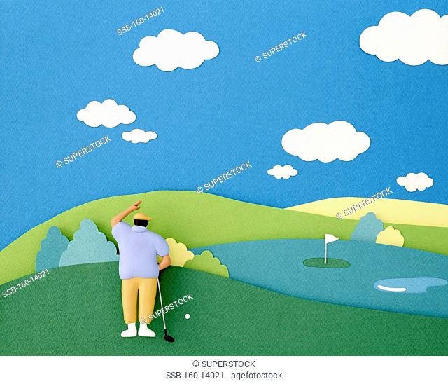 A man is playing golf