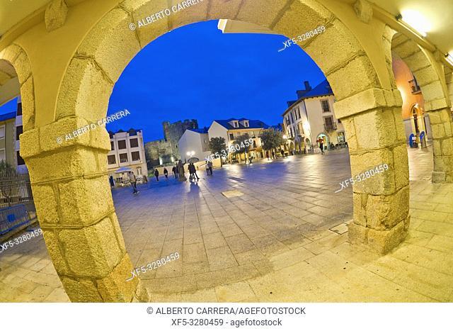 Square of the Encina, Street Scene, Typical Architecture, Old Town, Ponferrada, El Bierzo Region, León Province, Castilla y León, Spain, Europe