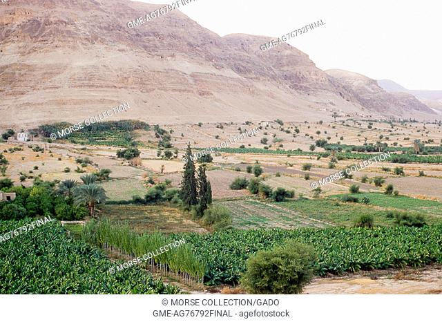 View of Mount Quarantania, known as the Mount of Temptation, northwest of the city of Jericho, West Bank, Israel, November, 1967