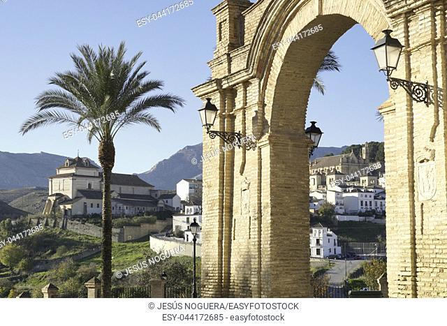 Arch or gate of Granada in Antequera, Málaga. Spain