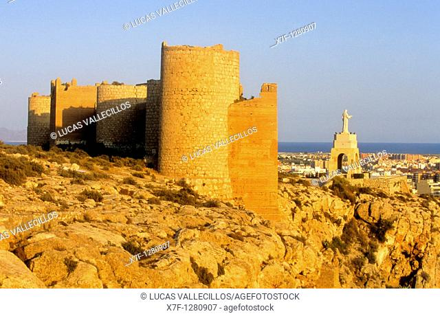 Fortified Wall Muralla de Jayran At right lookout of San Cristobal  Almeria  Andalucia  Spain
