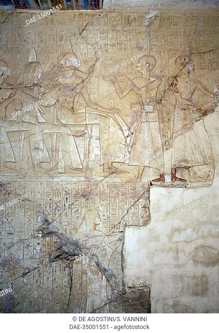 Reliefs of the Tomb of Neferhotep, priest of Amon, also known as Tomb TT50, Sheikh Abd el-Qurna, Theban Necropolis (Unesco World Heritage List, 1979)